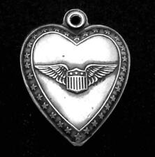 Vintage Sterling Silver Puffy Heart US Army Military Pilot Charm Pendant 25392