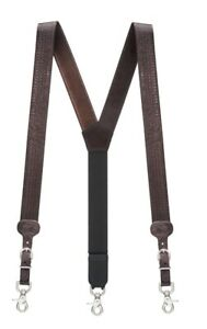 NOCONA MENS SIZE LARGE DARK BROWN BASKET WEAVE LEATHER SUSPENDERS~ BRAND NEW