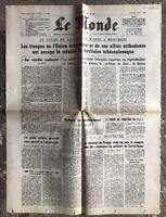 N71 La Une Du Journal Le Monde 22 Août 1968