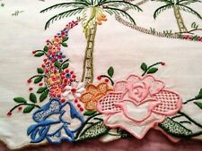 "Rare Spectacular Colorful Madeira Island Theme Embroidered Linen Runner 43"" x16"""