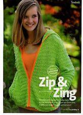 Knitting pattern ragazze adolescenti Cardigan con Cappuccio e Cerniera 4mm Ferri Da Maglia Lana DK