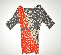 Yoana Baraschi Dress 100% Silk Size Medium Dolman Sleeve Belted Circles Red Gray