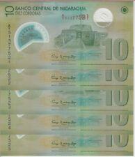 NICARAGUA BANKNOTE P201b 10 CORDOBAS 2007/2012  LOT OF 5, UNC