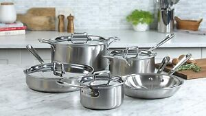 NEW All-Clad D5 10-piece Cookware Set Brushed 5-ply Bonded 18/10 Stainless Steel