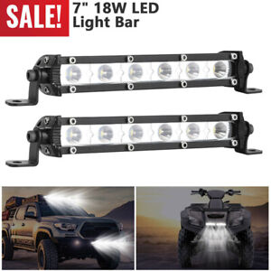"2x 7"" 18W Combo LED Work Light Bar Spot Flood Driving Offroad SUV UTV ATV Boat"