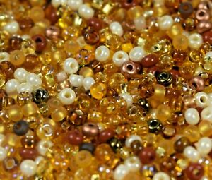 """Czech Glass Seed Beads Size 10/0 """" MIXTURE GOLDEN """" Loose 50 Grams"""