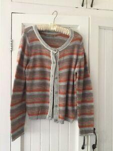 Sandwich Orange/Grey Stripe Cotton Cardigan XL
