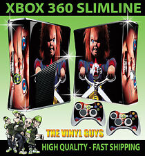 XBOX 360 SLIM STICKER CHILDS PLAY CHUCKY HORRR DOLL SKIN & 2 CONTROLLER PAD SKIN