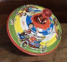 Vintage Spinning Toy Top LBZ Lorenz Bolz Zirndorf Colorful Cars WORKS!