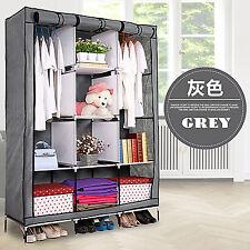 PRO Silver Wardrobe Closet Storage Organizer Cupboard Cloth Rack With Shelves