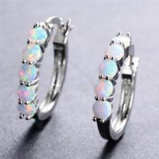 White Fire Opal Hoop Shaped Stud Earrings For Women Exquisite Trinket C