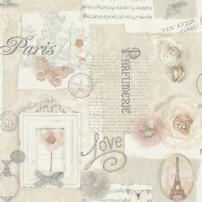 Arthouse VIP Wallpaper Felicity Natural 665400 Paris Flowers Script Butterfly X4