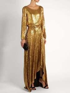 DIANE VON FURSTENBERG DVF Delani Gold Embellished Gown Dress