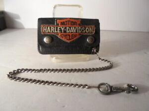 Harley Davidson Vintage Mini Black Leather Biker Trucker Lid's Chained Wallet