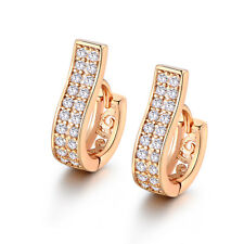 HUCHE Ribbon Band Style Rose Gold Filled Pave Diamond Clear Topaz Women Earrings