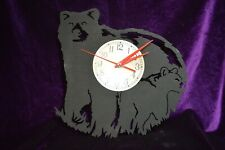 Mama Bear and Baby Bear Black Wooden Clock