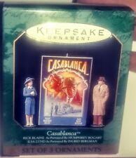 1997 HALLMARK MINIATURES CASABLANCA  DATED SET OF 3 CHRISTMAS ORNAMENTS BOGART