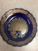 Cobalt Blue Scalloped Peacock Plate