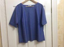 Ladies Peter Hahn Blue 100% Cotton Blouse Hardly Worn Uk 18 (x)