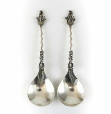 Pair German Hanau Silver Apostle Style Spoons, 19th Century