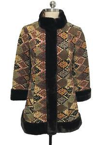 Vtg 60s Tapestry Carpetbag Coat Country Pacer Faux Fur Cuffs Mod Go Go Boho sz 8