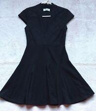 Pencey Women's Dress, Size 0, Black, Short Sleeves, Lace V-Neck, Flared Skirt
