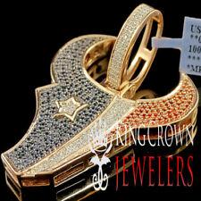 Real Rose Gold Sterling Silver Texas Football Charm Simu Diamond Texans Pendant