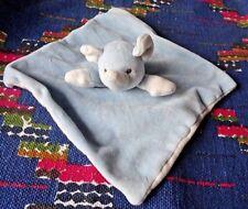 AP/  DOUDOU PLAT ELEPHANT MY NATURAL BLEU BLANC COTON BIO TBE