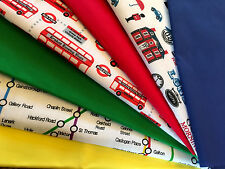 Fat Quarter Bundle Underground Red Bus Big Ben Patriotic London Fabric Bunting