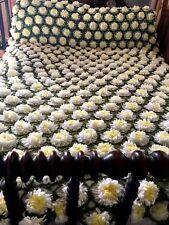 "3D Daisy VTG Hand Made Crochet GRANNY Square Afghan Bedspread/Throw 97"" x 109"""
