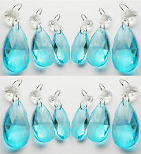 12 CUT GLASS CHANDELIER CRYSTALS AQUA OVAL DROPS TURQUOISE BEADS PRISMS CRAFTS
