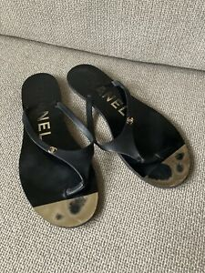 Chanel Black Flat Sandals Size 40