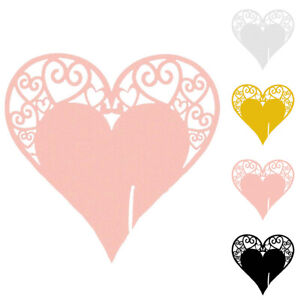 Paper Heart Wedding Bridal Name Card For Wine Glass Party Place Seating Card New