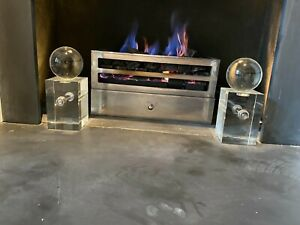 Chesneys Fire Grate with Glass Sphere and Block Andirons and Gas Fire