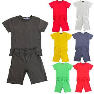 Boys Girls Kids T-Shirt Shorts Set Plain Cotton PE School Sports Summer Top Gym