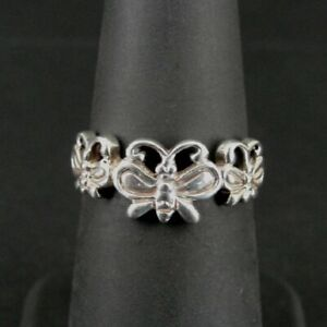 Ring Silver Butterfly Three Butterflies Sterling 925 Size 5 3/4 Band Ring 5.75