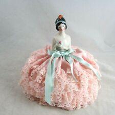 Antique Half Doll Porcelain Flapper Pink Lace Pincushion Skirt 1920s Art Deco