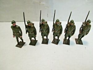 6 vintage WWI French Colonial Infantry & Officer Tradition Lead Soldiers England