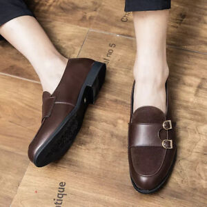 Mens Splicing Monk Strap Loafers Casual Formal Shoe Elegant Simple Oxfords