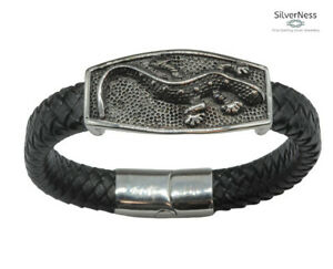 SilverNess Jewellery Flat Leather BRACELET with Stainless Steel LIZARD Bead