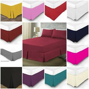 Plain Dyed Pleated Base Poly Cotton Valance Sheets Single Double King Super King