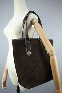 Gucci GG Vintage Brown GG Monogram Suede & leather Charmy Tote Hand bag Size L