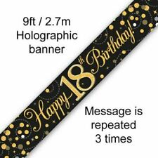 9ft Banner Happy 18th Birthday Black & Gold Holographic