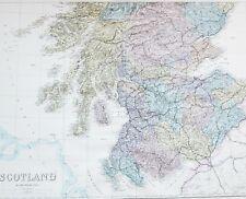 1883 LARGE MAP SCOTLAND PERTH FORFAR EDINBURGH BERWICK HADDINGTON ROXBURGH