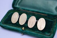 Vintage Art Deco Sterling Silver cufflinks with a 9ct gold plate #B259