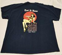 Eat It Raw Half Shell Raw Bar Key West Florida T-Shirt Men 2XL seafood fish tee