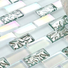 Sale 11 sheets Subway Super White Silver Glass Kitchen Bath Backsplash New Ideas