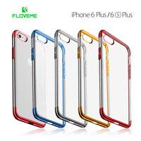 Funda iPhone 6 Plus/6S Plus de silicona transparente bordes metalizados FLOVEME