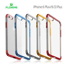 Funda iPhone 6 y 6S Plus de silicona transparente bordes metalizados FLOVEME