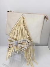 Ladies Cream Hobo Tassel Twin Side Clutch Bag Girls Purse Cross Body Bag '28790'